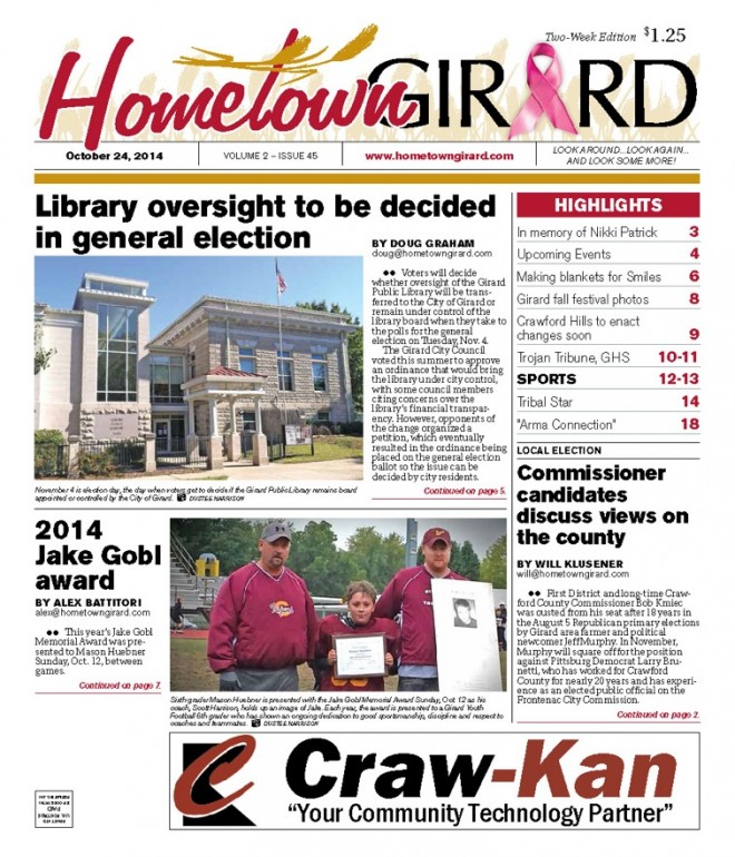 FRONT PAGE, October 24, 2014