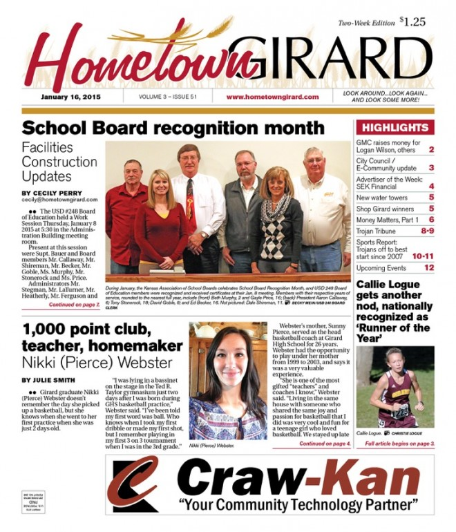 Front page, January 16, 2015 edition