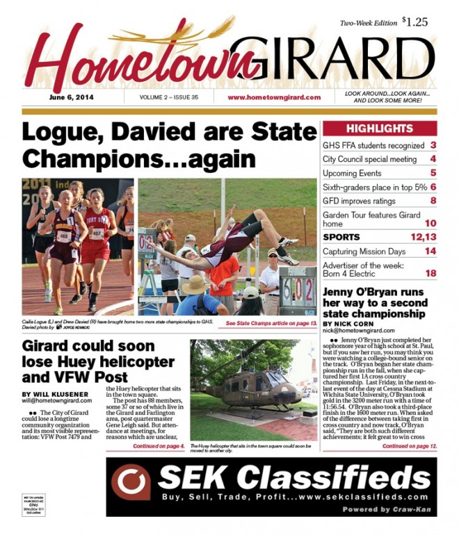 Front page of the June 6, 2014 edition.