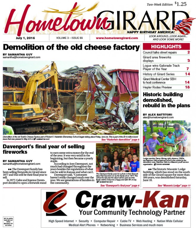 Front Page: July 1, 2016