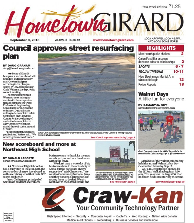 Front Page: Sept. 9, 2016