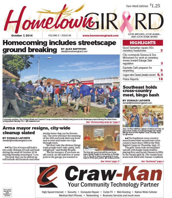 Front page: October 7, 2016