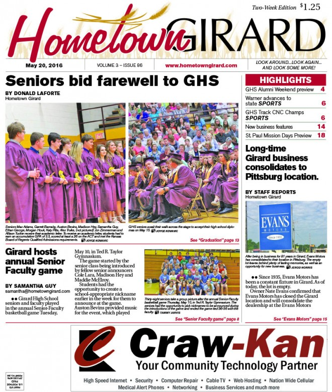 Front page: May 20, 2016