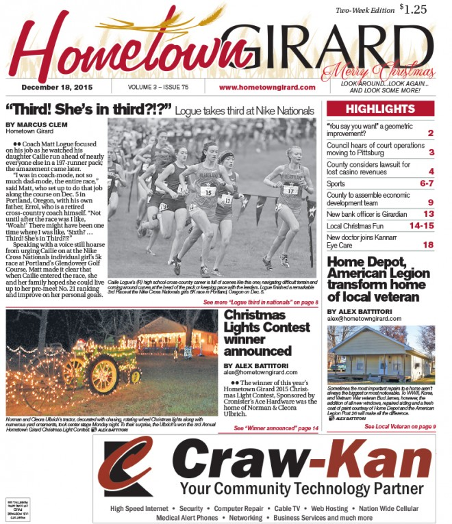 Front page Dec. 18, 2015