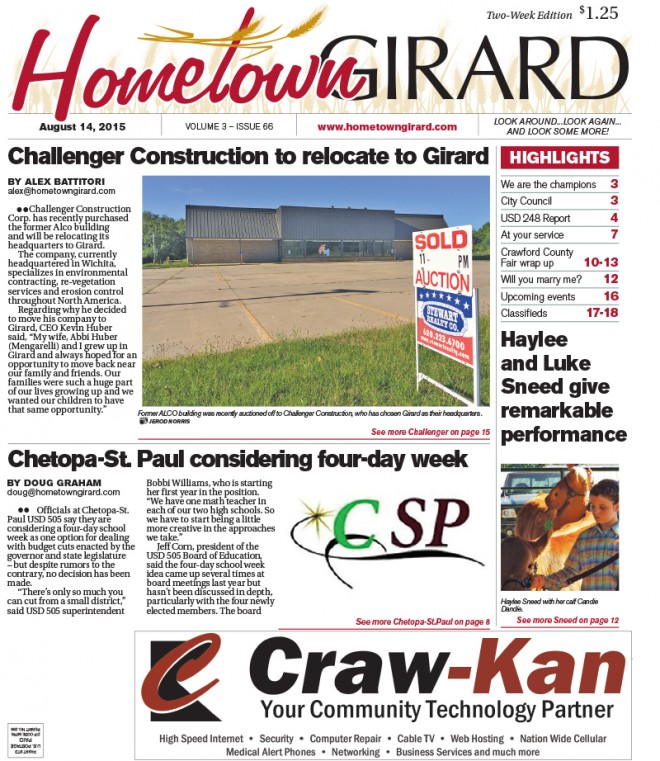 Front Page – August 14, 2015
