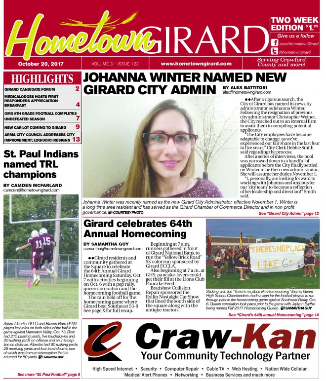 Front Page: October 20, 2017