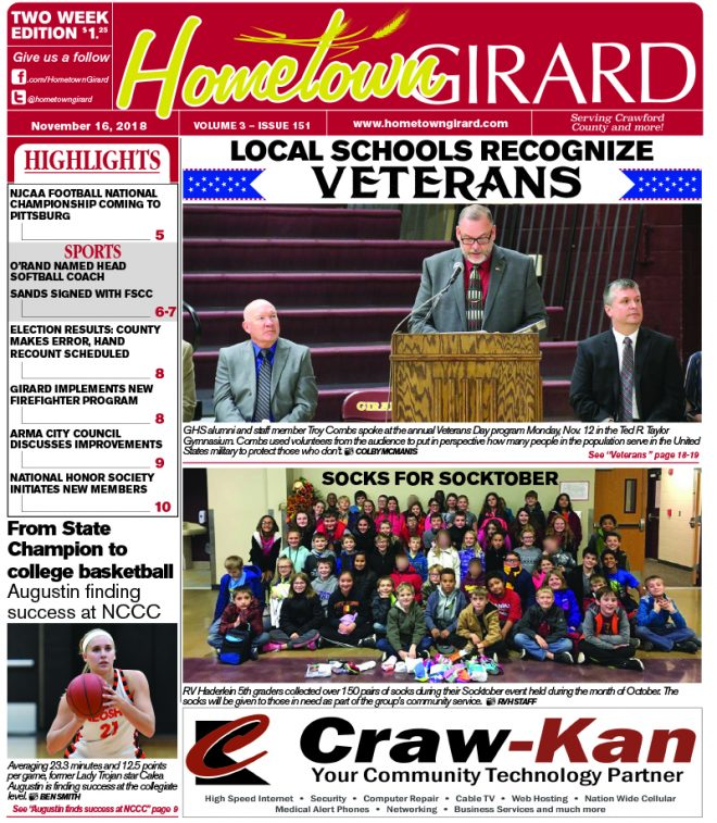 Front page: November 16, 2018
