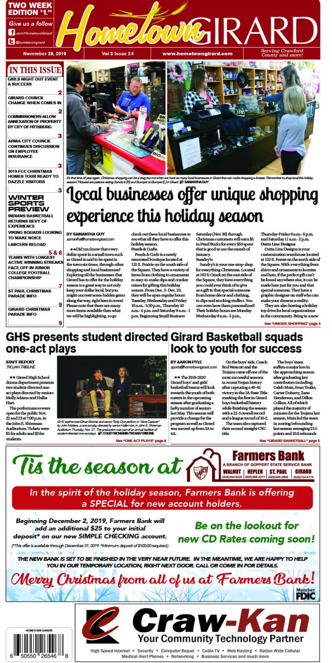 Front page: November 29, 2019