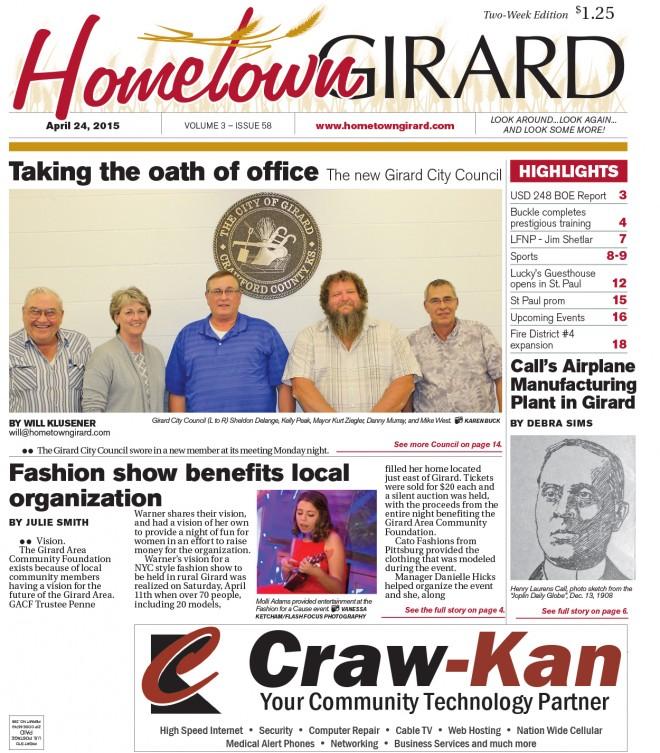 Front Page – April 24, 2015