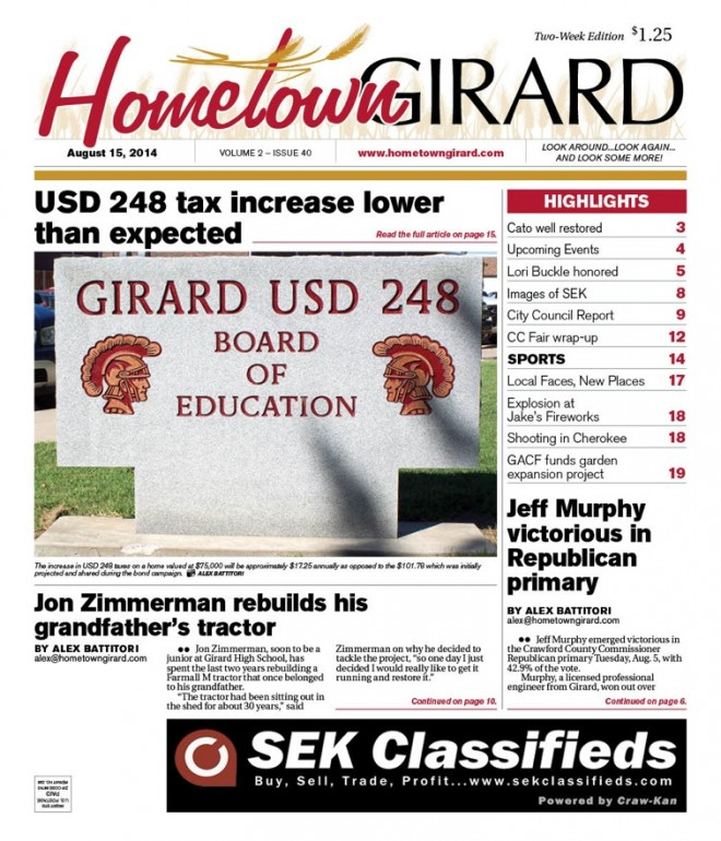Front page, August 15 edition 2014
