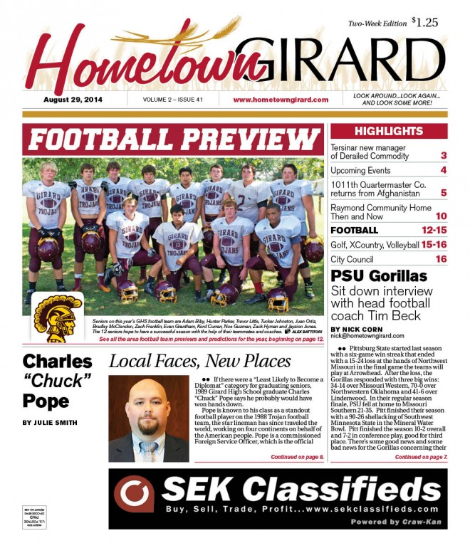 FOOTBALL PREVIEW, Front Page Aug 29 issue